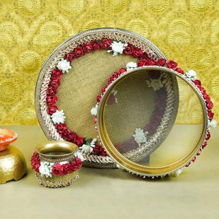 Karwachauth Thali Set Maroon: Karwa Chauth Gift to Wife