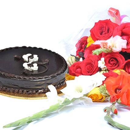 Chocolate Fudge Cake N Floral Bouquet: Send Flowers To Pakistan