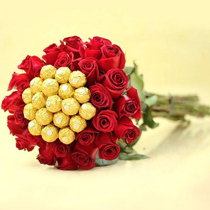 Ferrero Rocher And Rose Arrangement: Send Flowers To Pakistan