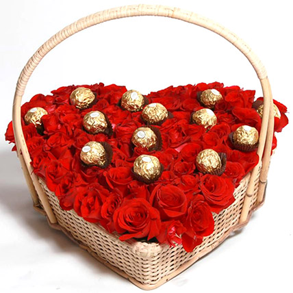 Red Rose And Ferrero Rocher Heart Basket: Send Valentines Day Gifts to Pakistan