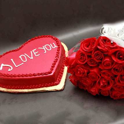 Roses And I Love You Cake: Send Gifts To Pakistan