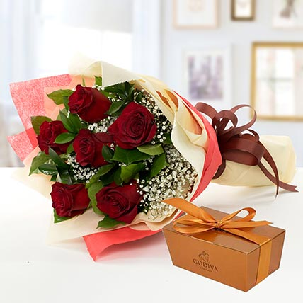 6 Red Roses and Godiva Chocolate Combo QT: Valentines Day Gifts to Qatar