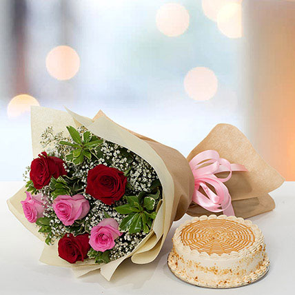 Delightful Roses Bouquet With Butterscotch Cake QT: Mothers Day Gifts in Qatar