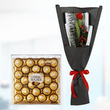 Tulip & Ferrero Rocher: Flower Delivery Qatar