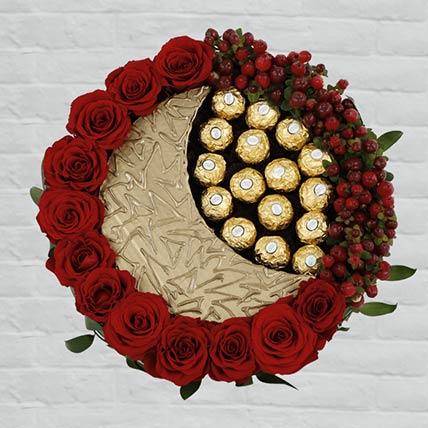 EID Red Roses & Rocher Arrangement: Send Ferrero Rocher Chocolates to Qatar