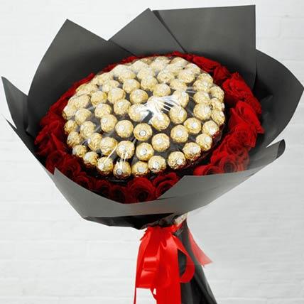 Red Roses & Ferrero Rocher Bouquet: Send Chocolates To Qatar