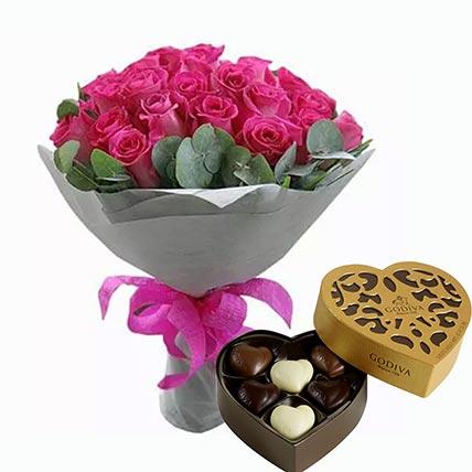 Dark Pink Roses Bunch & Godiva Chocolates: Godiva Chocolates