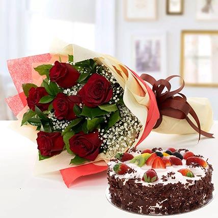 Red Roses & Black Forest Cake- Half Kg: Combos