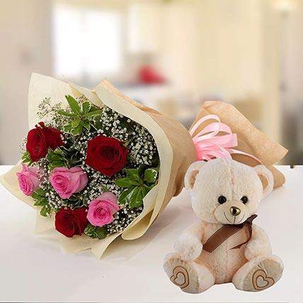 Teddy Bear & Roses Combo: Send Combos To Qatar