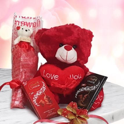 Soft & Chocolatey Gift Hamper: Valentines Day Gifts to Qatar