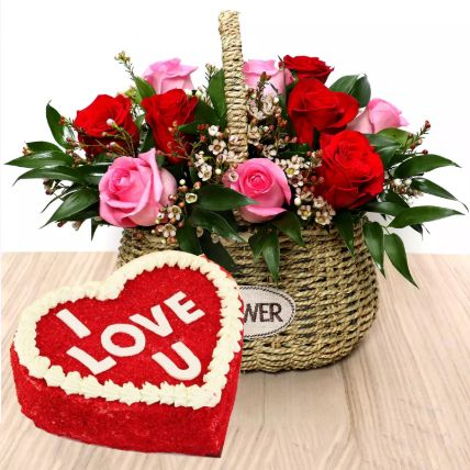 I Love You Red Velvet Cake And Roses Basket: Valentines Day Gifts to Qatar