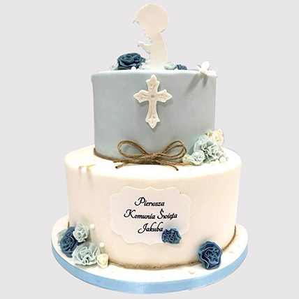 Blue And White Christening Cake: Cakes To Al Qatif