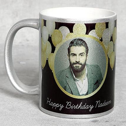 Personalised Silver Birthday Mug: Send Gifts to Saudi Arabia