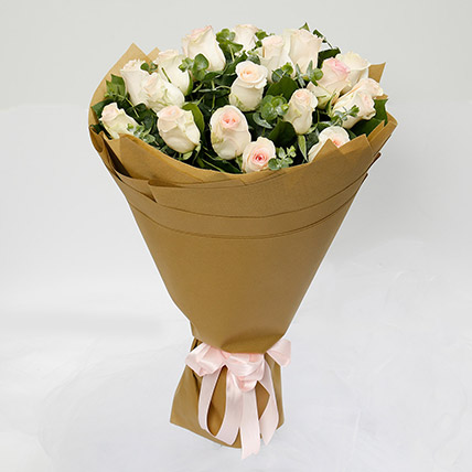 20 Peach Roses Bouquet: Flowers To Yanbu