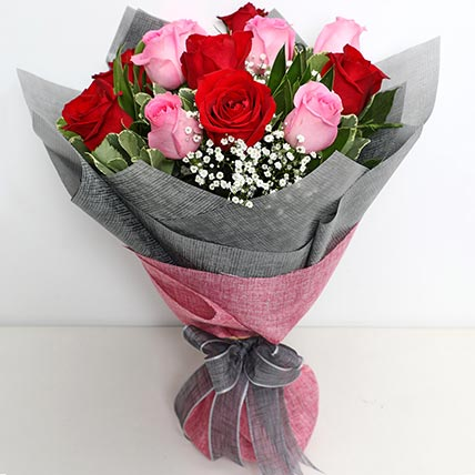 6 Pink And 6 Red Roses Bunch: Gifts To Al-Jubail
