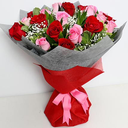 Glorious Pink N Red Roses Bouquet: Gift Delivery Jeddah