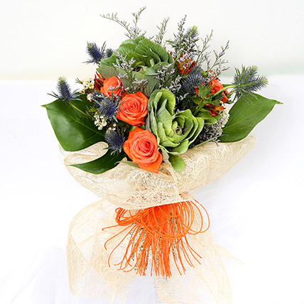 Orange Roses and Alstroemerias Mixed Bouquet SG: Chinese New Year Gifts