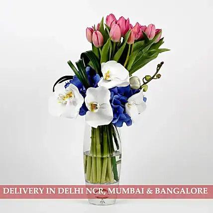 20 Unique Pink Tulips Hydrangeas Premium Glass Vase Arrangement
