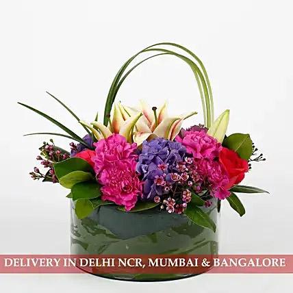 Carnations Roses Premium Vase Arrangement
