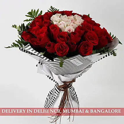 Hearty Red Pink Roses 60 Pc Premium Bouquet