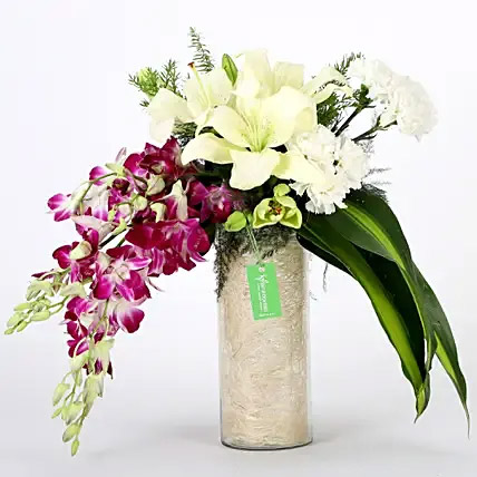 Orchids and Carnations Vase Arrangement