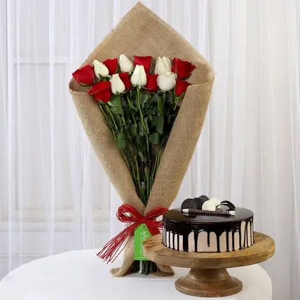 Red and White Roses with Choco Cream Cake