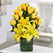 Yellow Roses and Asiatic Lilies Vase Arrangement