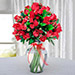 Bunch of Red Roses in Glass Vase OM