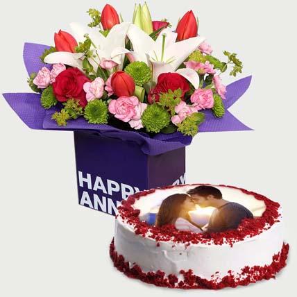Mixed Birthday Flowers & Red Velvet Cake