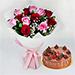 12 Pink Red Roses Bunch & Chocolate Fudge Cake