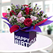 Mixed Flowers In Birthday Square Glass Vase