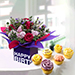Mixed Flowers With Cup Cakes